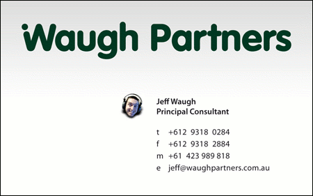 Waugh Partners Business Card 2007 - Jeff