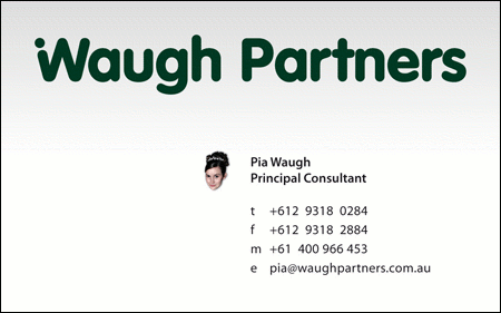 Waugh Partners Business Card 2007 - Pia